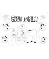 Sinterklaas kleurplaat placematjes 6 stuks